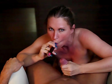 POV blowjob by brunette mom Devon Lee