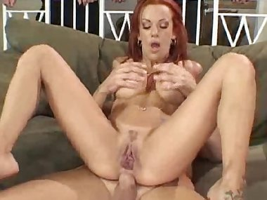 Redhead mom S Barber fucks in her anal