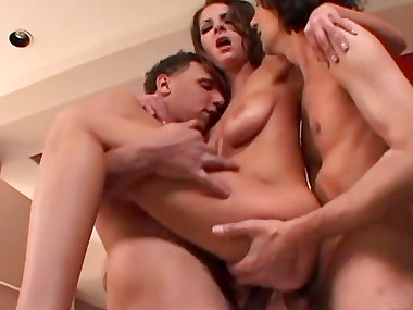 MMF threesome with sexy busty mommy