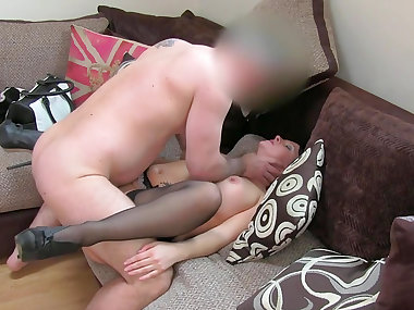 Busty brunette mom named Devon banged at the..