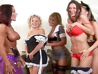 Five sexy babes are playing with their natural..