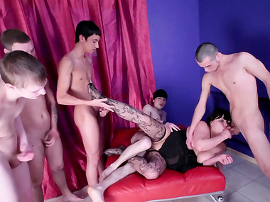 Sexy fat mature fuck with gang of young poles