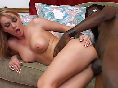 Slender blonde Aline is sucking black dick