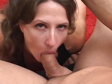 Brunette slut with small tits takes a cumshot in her mouth