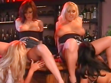 Busty babes are banging at the bar stand