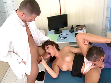 Ava Dalush was fucked by two doctors