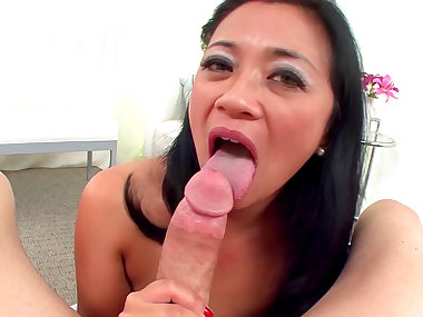 Brunette Asian swallows dose pf cum