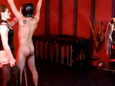Restrained slave gets spanked by mistress in lingerie