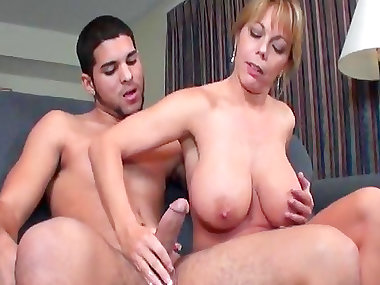 Busty mom masturbates that young dick