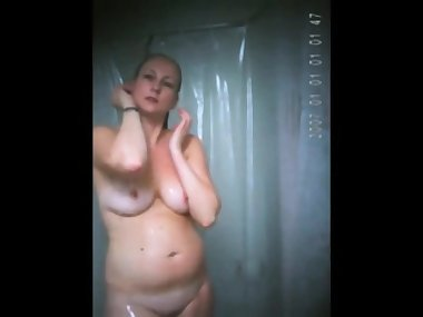 Morning shower my Mom on spy camera