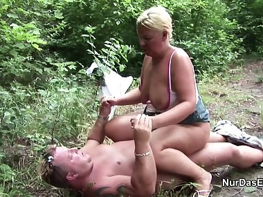 German MILF Mom Seduce to Fuck Outdoor by Young Boy