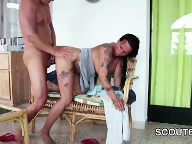Mom Seduce German Step-Son to Fuck her on Privat Holiday