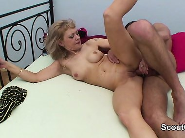 German Mom wake up Step-sonn to get her first anal fuck
