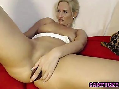 Sexy Blonde Mom dildos her wet pussy