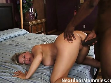 Milf with big tits fucks black cockBlonde mom tries to sell