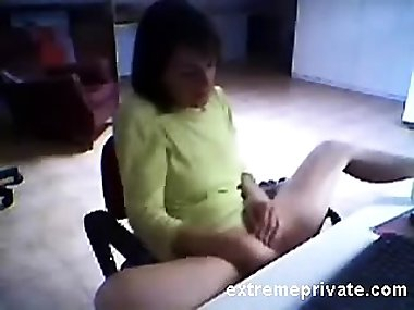 Spying Mom masturbating in her office