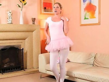 Sexy mom in white pantyhose stripping