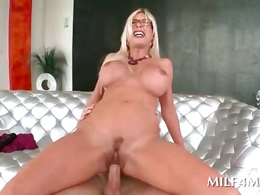 Slutty mom in glasses blowing and riding huge cock