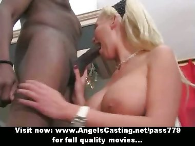 Amazing blonde amateur mom having interracial sex