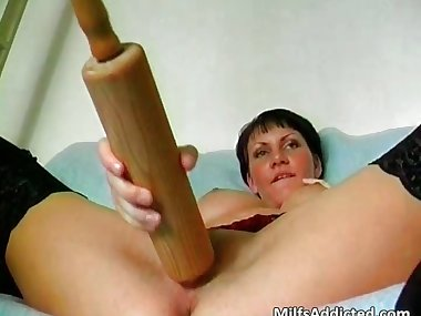 Kinky short haired mom is crazy as she part4