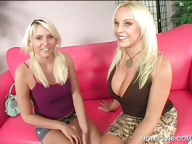 Blonde mom and daughter show bodies