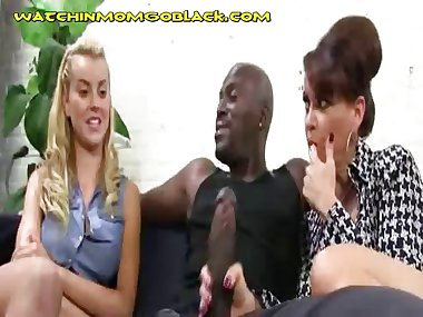 Hot Blonde Mom Suck Her Black Lover