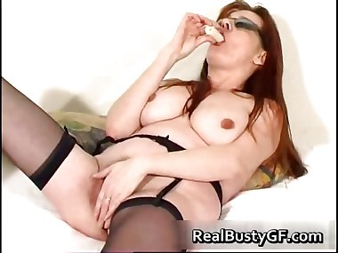 Stunning round tits mom dildo fucked part1