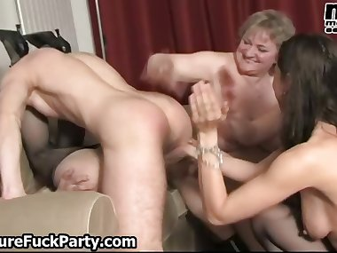 Four horny mature moms using and fucking part6