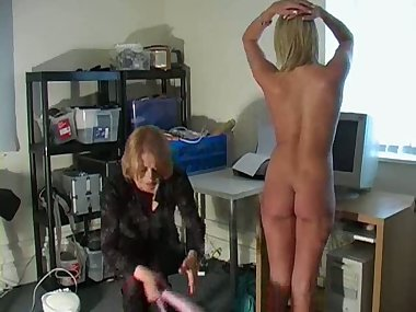 Blonde being stripped and spanked