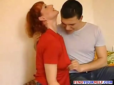 Russian guy cum inside mature redhead mother