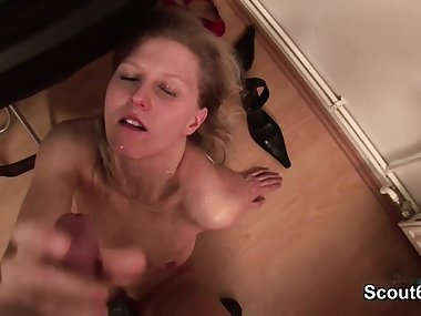 German Mom Caught him and Helps with Show and Blowjob