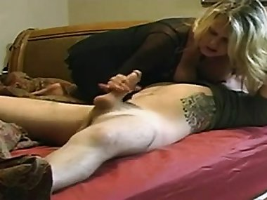 Busty blonde mom with a wonderful big booty wildly rides a