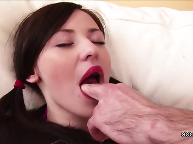 Step-Dad Caught Teeny Masturbate and Fuck her when Mom away
