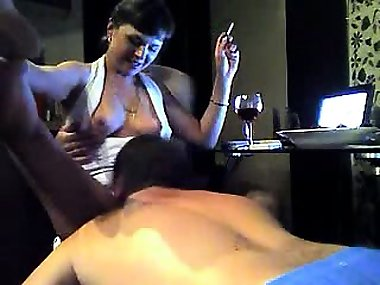 Provocative brunette mom shows off her body and fucks two h
