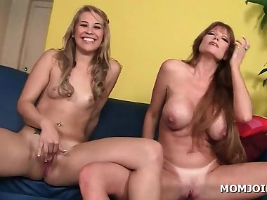 Skinny daughter sits on top of mom in 3some
