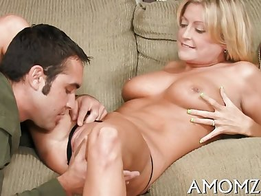 Hot mom welcomes hard dick to enter her soaking..