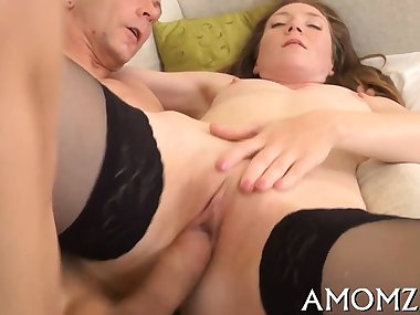 Passionate mom gets her cunt destroyed with massive cock