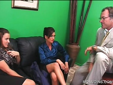 Threesome with lusty mom and daughter