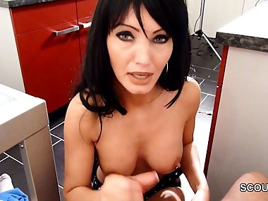 German Beauty Step-Mom Help Step-Son with Handjob