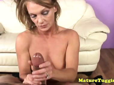 Mom mature jerking guys dick POV