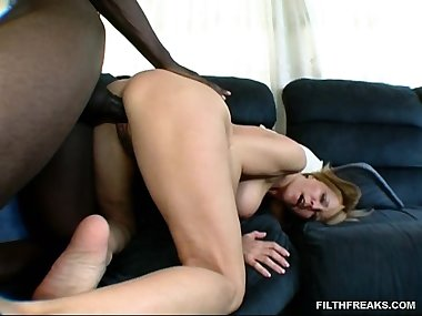 Horny mom takes a chance and tries on some dark..