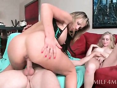 Dirty mom and cute kitten riding dick in turns in threesome