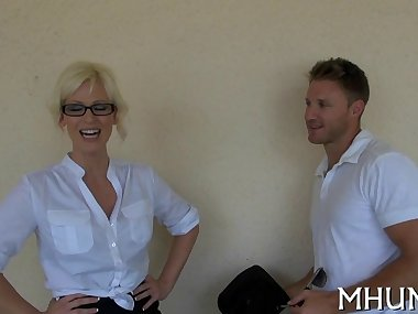 Blonde nerd girl  gets her hot ass licked by Levi Cash