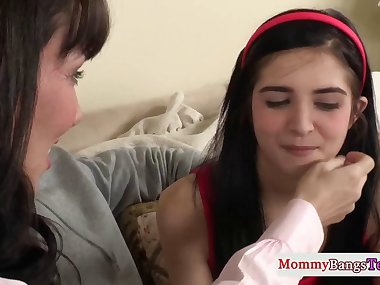 Classy stepmom doggystyled with teen in trio