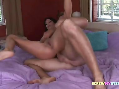 Raunchy stepmom on the cock