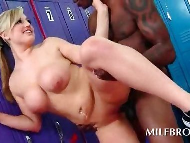 Big tits mommy black fucked in locker room