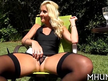 Big ass blonde in stockings riding with her shaved pussy