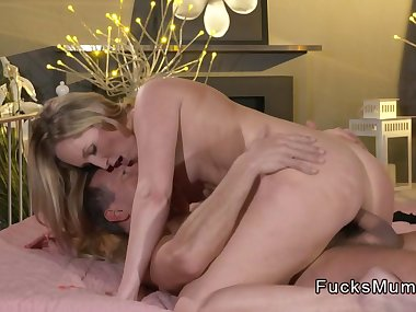 Shaved twat mom bangs and wanks