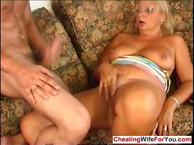 Mom with stockings gets facial