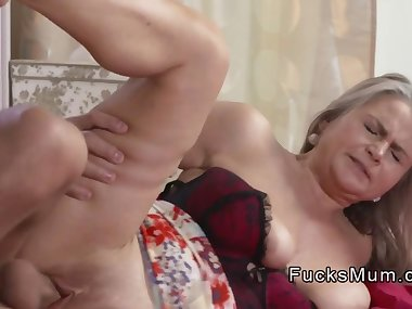 Busty blonde mom wanks and fucks